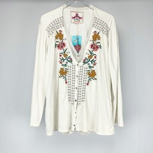 Johnny Was Embroidered Long Sleeve Blouse XL